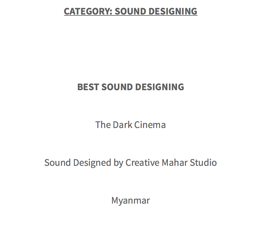 Best Sound Design in Cult Critic Movie Awards