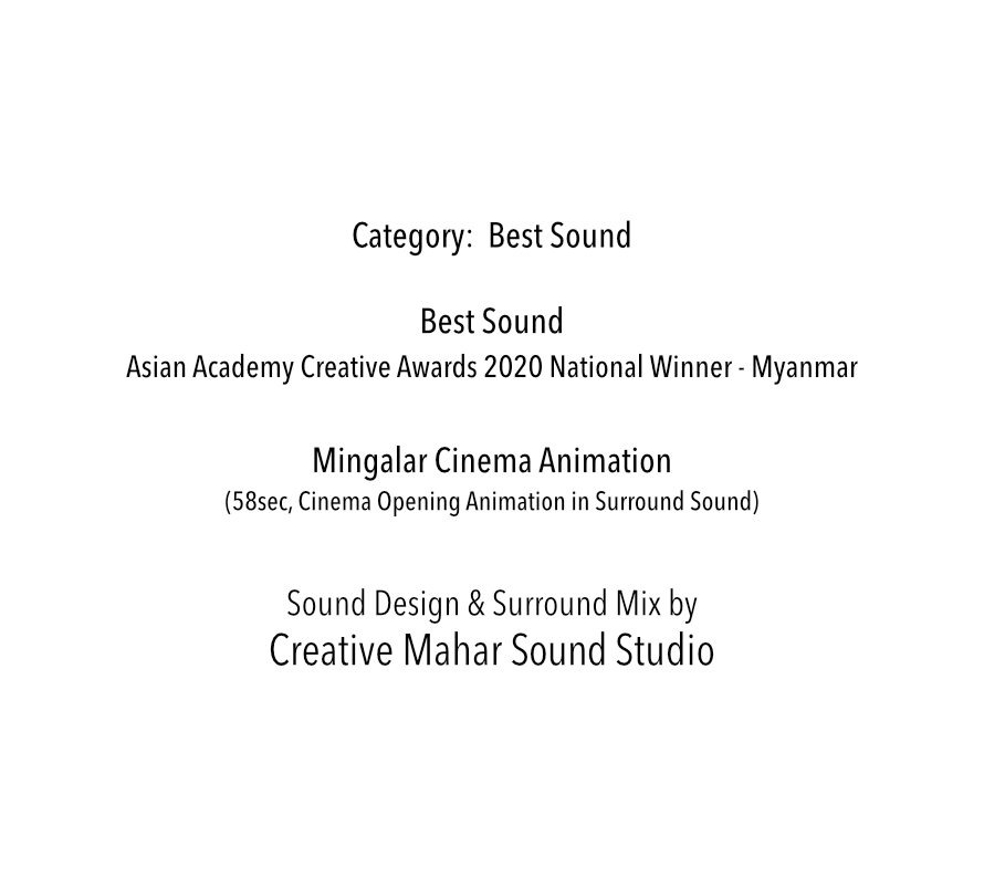 Asian Academy Creative Awards 2020 National Winner in Best Sound Category